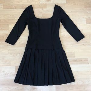 ABS Black Pleated Dress, Size P